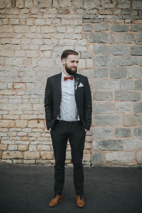 Groom in ASOS Wedding Suit & Bow Tie