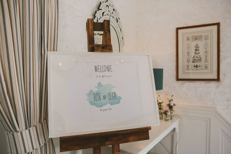 Pastel Water Colour Wedding Welcome Sign
