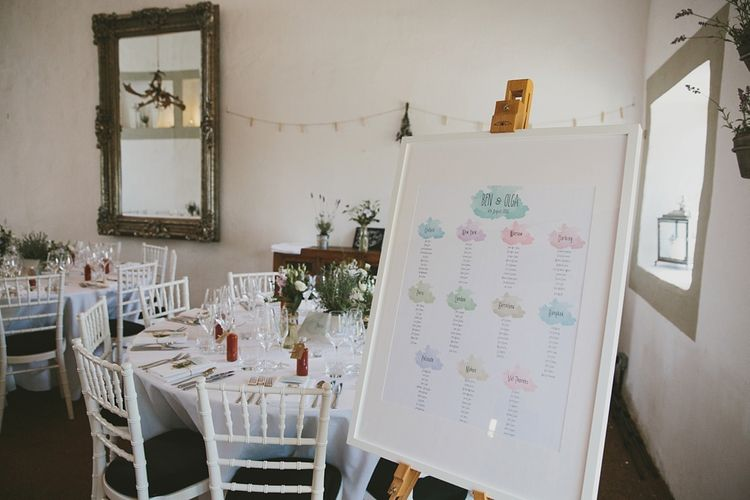 Pastel Watercolour Table Plan Wedding Stationery