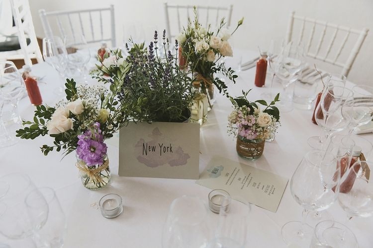 Wild Flower Floral Table Centrepieces & Water Colour Wedding Stationery