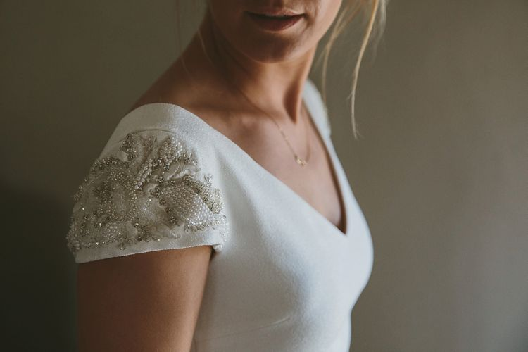 Embellished Sleeves on Pronovias Irune Wedding Dress