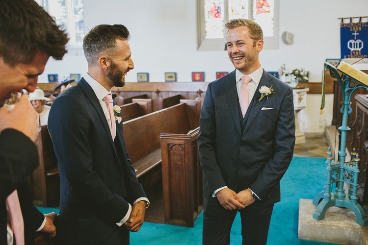Groom at the Altar in Hugo Boss Suit