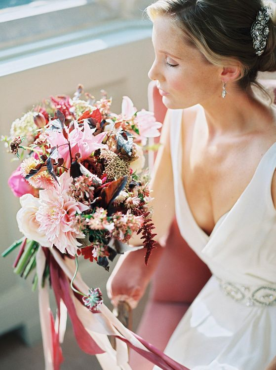 Red & Pink Bouquet by Martha & the Meadow | Bridal Hair, Make Up & Accessories by Victoria Fergusson | Naomi Neoh Bridal Gowns | Opulent Wedding Inspiration at Warmwell House in Dorset with Rich colour Palette Planned by Kelly Chandler | Imogen Xiana Photography | Gorgeous Films