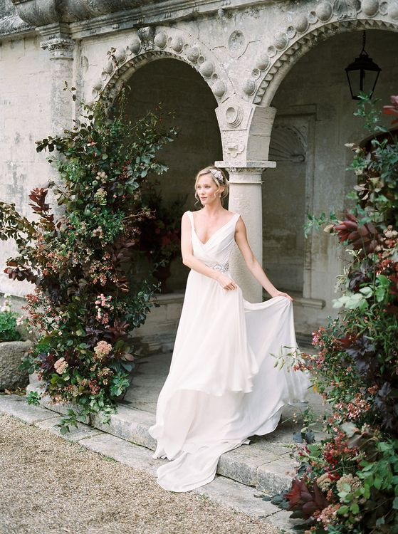 Bridal Hair, Make Up & Accessories by Victoria Fergusson | Naomi Neoh Bridal Gowns | Opulent Wedding Inspiration at Warmwell House in Dorset with Rich colour Palette Planned by Kelly Chandler | Imogen Xiana Photography | Gorgeous Films
