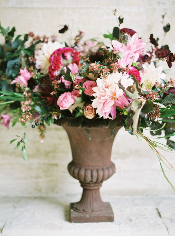 Red & Pink Floral Arrangement by Martha & the Meadow | Opulent Wedding Inspiration at Warmwell House in Dorset with Rich colour Palette Planned by Kelly Chandler | Imogen Xiana Photography | Gorgeous Films