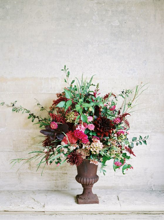 Red & Pink Wedding Flowers by Martha & the Meadow | Opulent Wedding Inspiration at Warmwell House in Dorset with Rich colour Palette Planned by Kelly Chandler | Imogen Xiana Photography | Gorgeous Films