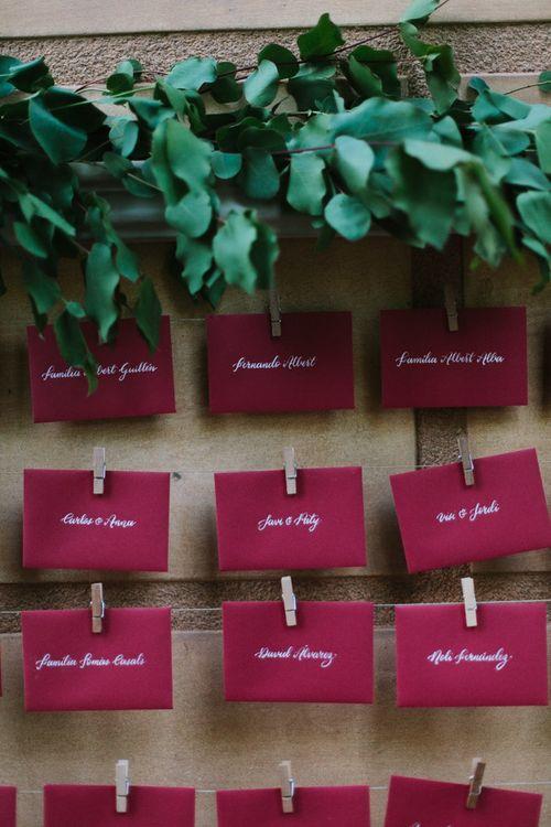 Envelope Escort Cards & Foliage Decor