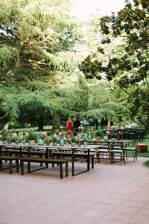 Outdoor Trestle Table Reception
