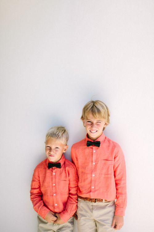 Page Boys in Coral Shirts & Black Bow Ties