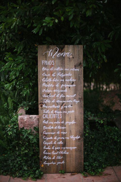 Rustic Wooden Menu Sign