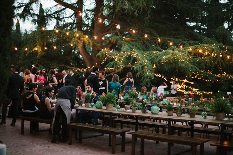 Festoon Lights Outdoor Wedding Reception