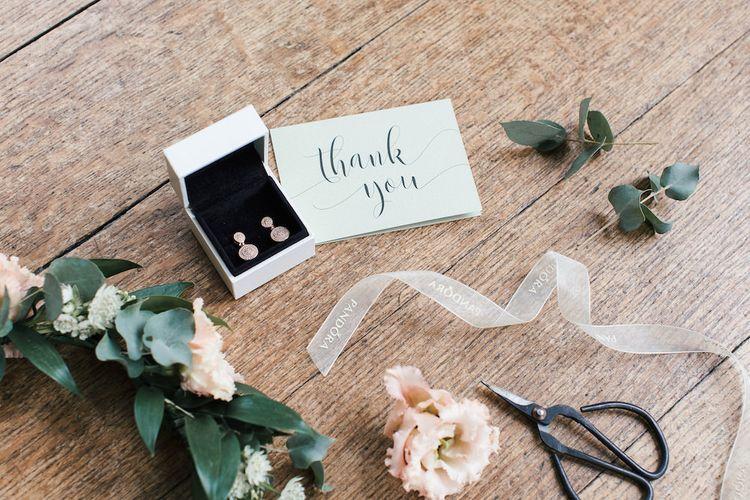 Thank You Card & PANDORA Rose Gold Earrings