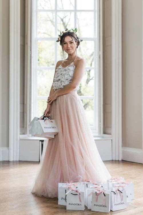 Bridesmaid in Blush Pink Skirt & Appliqué Top Separates from Raspberry Pavlova