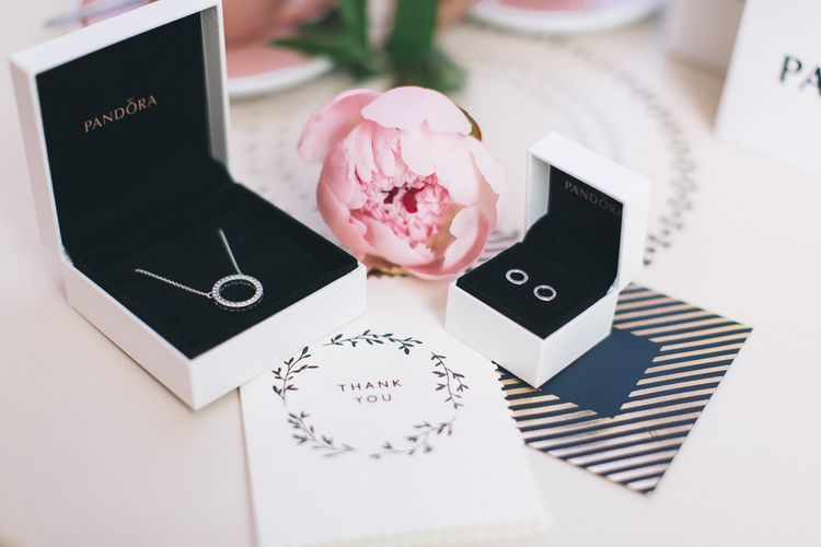 Forever PANDORA stud earrings and Hearts of PANDORA necklace // Thank You Gifts For Bridesmaids From PANDORA
