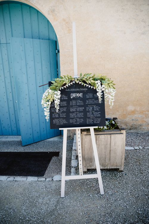 Rustic Chalkboard Table Plan With Wisteria