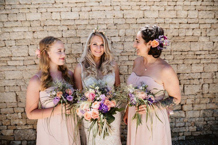 Bride & Bridesmaids Bouquets In Pink