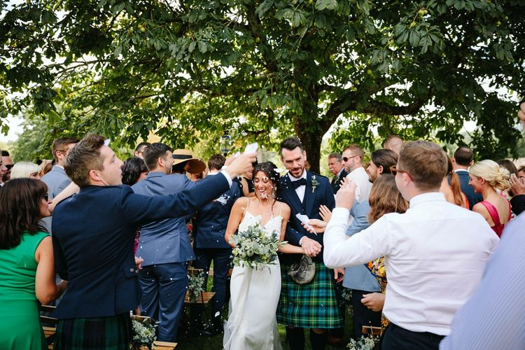 Bride in Phase Eight Wedding Dress | Groom in Tartan Kilt | Outdoor Wedding at Chateau Rigaud in France | Real Simple Photography | Yellow Gazelle Film