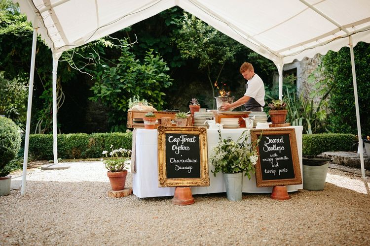 Food Station | Outdoor Wedding at Chateau Rigaud in France | Real Simple Photography | Yellow Gazelle Film