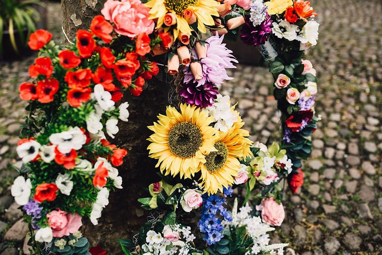 Wedding Peace Sign Made From Flowers