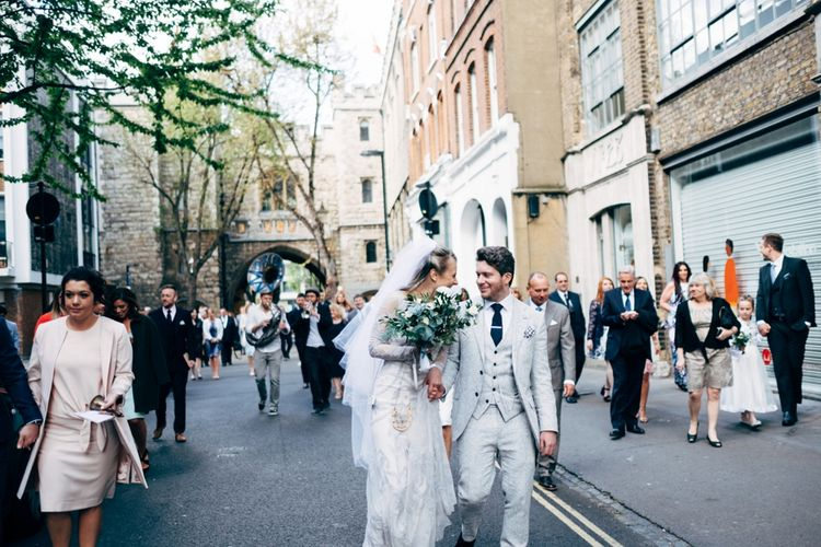 City Chic wedding in London at The Museum of St John and St John Restaurant. Photography by Dale Weeks with Bride in Temperley Bride.