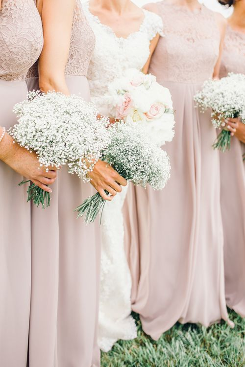 Bridesmaids with Gypsophila Bouquets