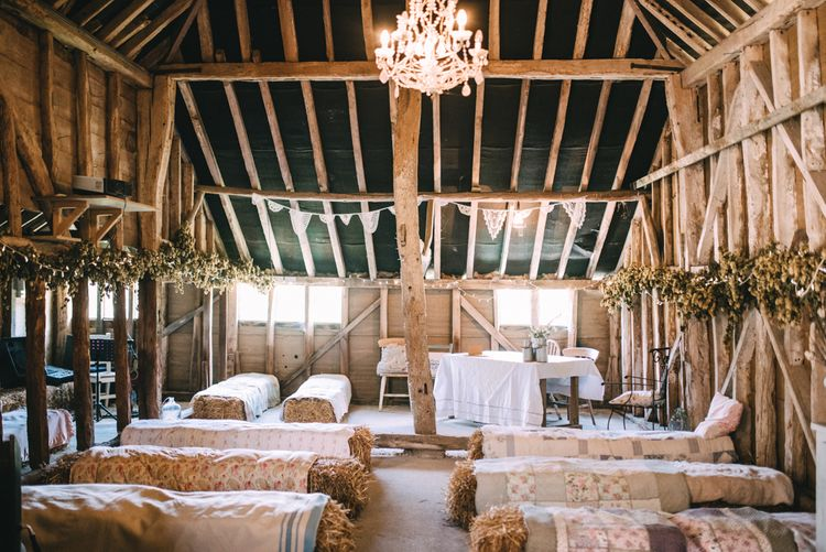 Hay Bale Seating For Wedding Ceremony