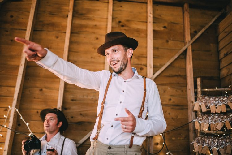 Groom in Braces and Trilby Hat