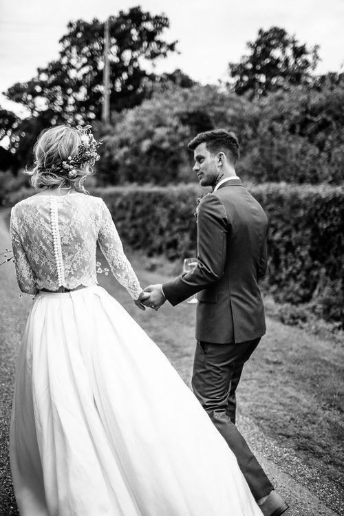 Bride in Custom Made Separates & Groom in Paul Smith Suit