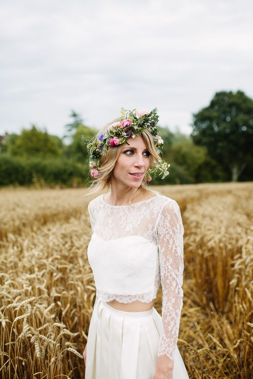 Bride in Custom Made Separates & Flower Crown