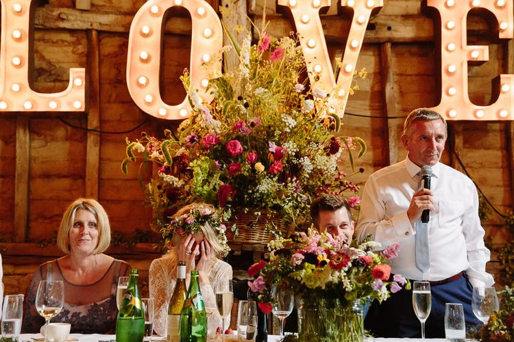 Top Table Floral Arrangement & Giant LOVE Letter Lights