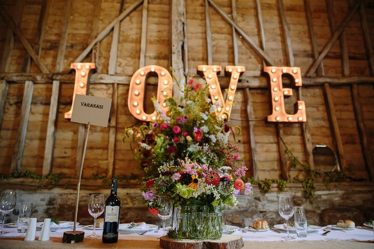 Giant LOVE Letters & Top Table Floral Arrangement