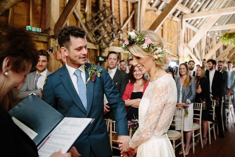 Wedding Ceremony at Rustic Wedding at The Great Barn Rolvenden in Kent