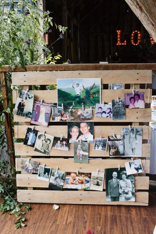 Wooden Palette & Polaroid Picture Wedding Decor