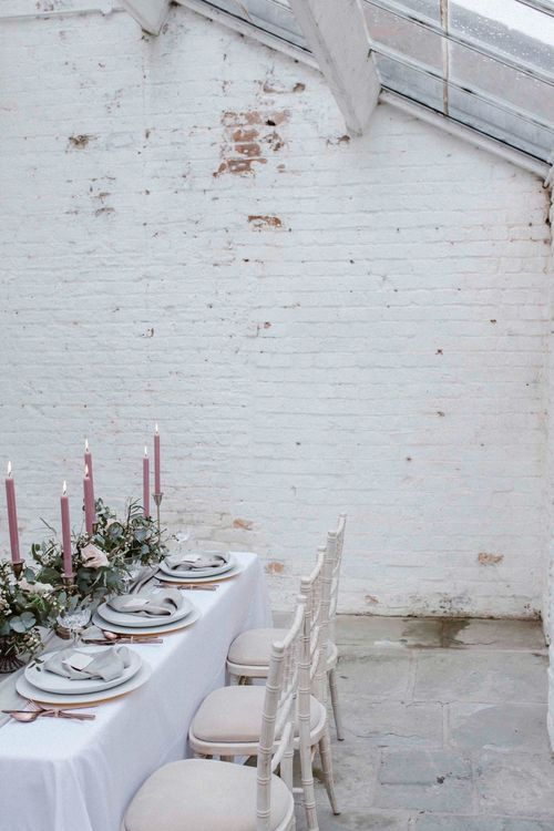 Pink & Grey Wedding Table With Gold Cutlery
