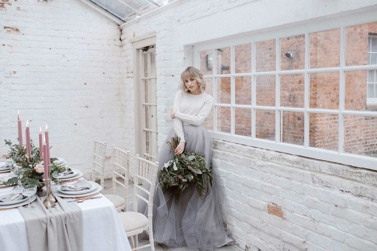 Bride in Grey Tulle Skirt