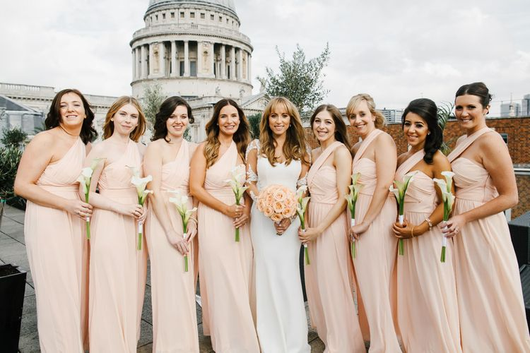 Bridesmaids in Peach Dresses from ASOS