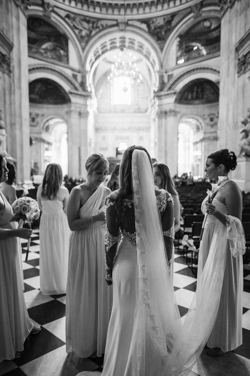 Bride in Martina Liana from Essense of Australia Bridal Gown