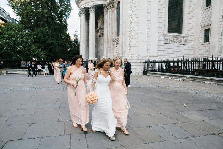 Bride in Martina Liana from Essense of Australia Bridal Gown & Peach ASOS Bridesmaid Dresses