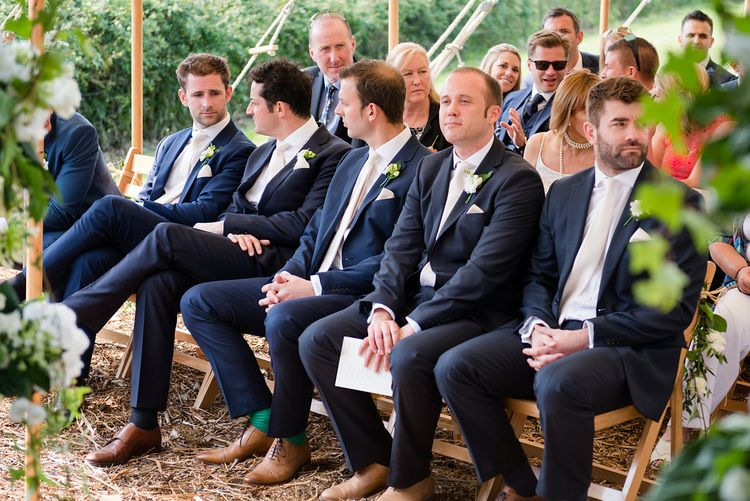 Groomsmen in Navy Reiss Wedding Suits   Turner & Moss Photography