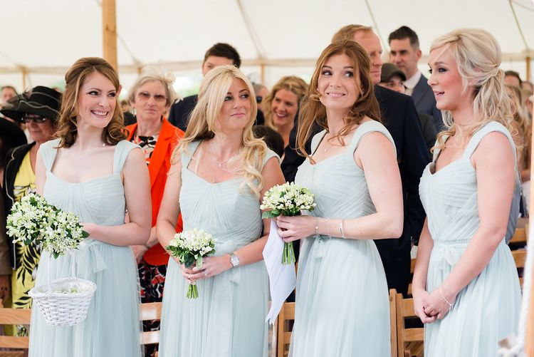 Bridesmaids in Pale Green Dessy Dresses   Turner & Moss Photography