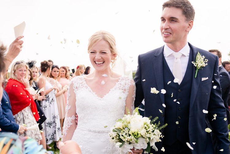 Outdoor Wedding Ceremony   Bride in Mori Lee Lace Dress   Groom in Navy Reiss Suit   Turner & Moss Photography