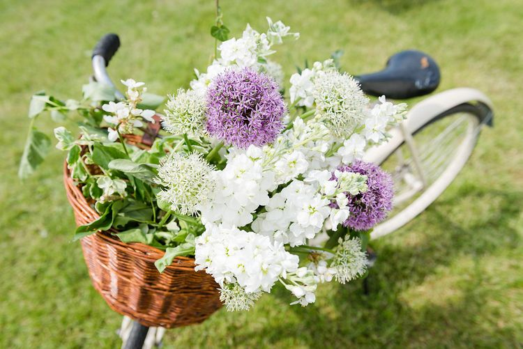 Vintage Bicycle Basket Filled With Flowers   Wedding Decor   Turner & Moss Photography
