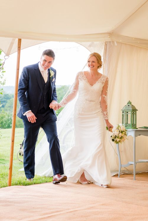 Mori Lee Lace Bridal Gown   Groom in Navy Reiss Suit   Turner & Moss Photography