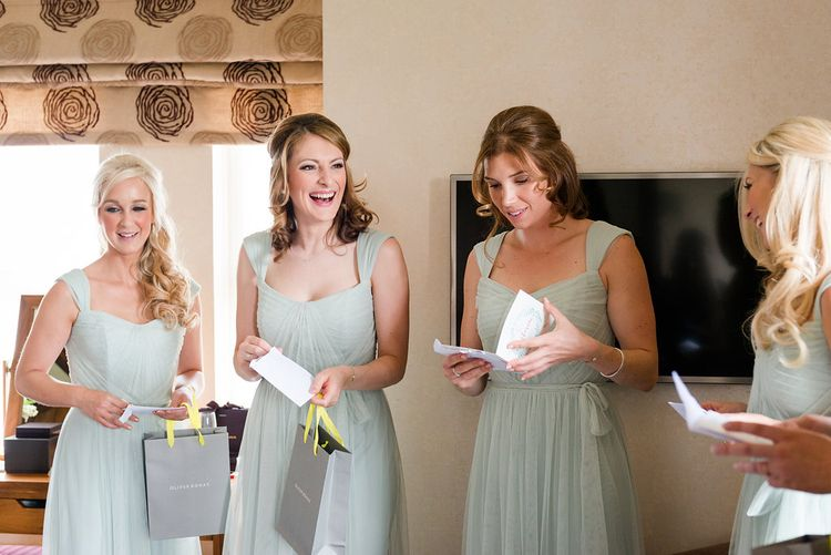 Bridesmaids in Pale Green Dessy Dresses   Bridesmaids Thank-you Gifts   Turner & Moss Photography