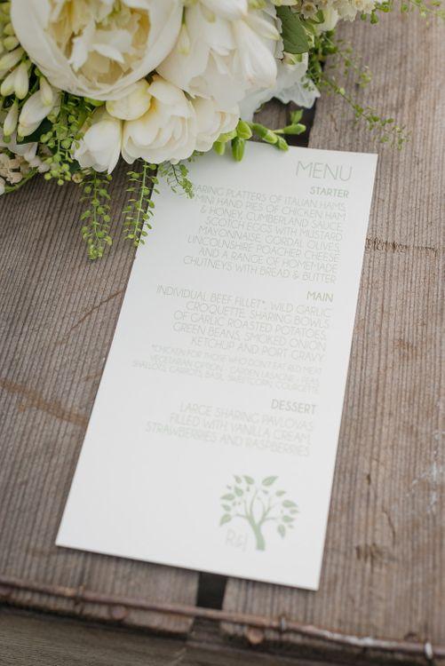 Wedding Stationery   Menu Card   Elegant Greenery & White Rustic Marquee Wedding at Church Farm   Turner & Moss Photography