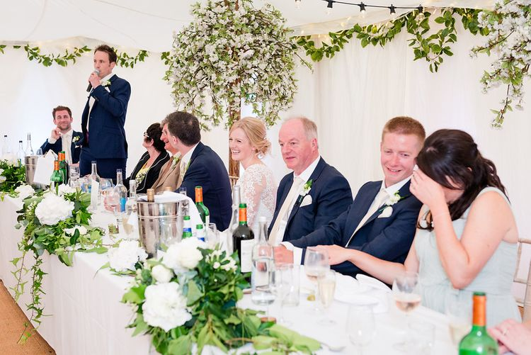 Top Table   Elegant Greenery & White Rustic Marquee Wedding at Church Farm   Turner & Moss Photography