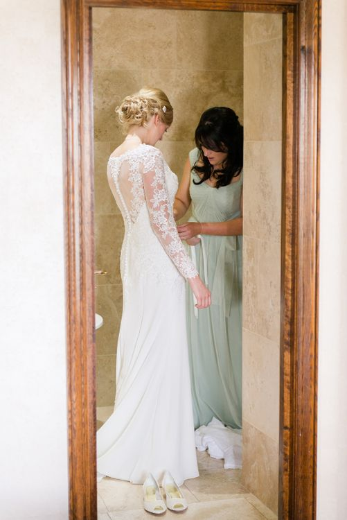 Bride in Mori Lee Lace Wedding Dress   Bridal Preparations   Turner & Moss Photography