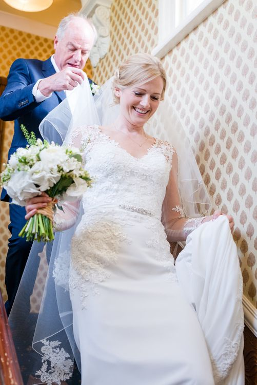 Bride in Mori Lee Lace Wedding DRess   Turner & Moss Photography