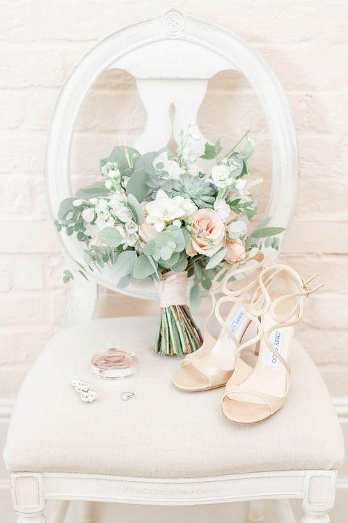 Jimmy Choo Bridal Shoes | Romantic Bouquet | Elegant Pastel Wedding at Gaynes Park, Essex | White Stag Wedding Photography | At Motion Film