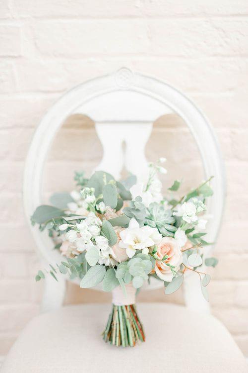 Pastel Peach, Green & White Bouquet | Elegant Pastel Wedding at Gaynes Park, Essex | White Stag Wedding Photography | At Motion Film